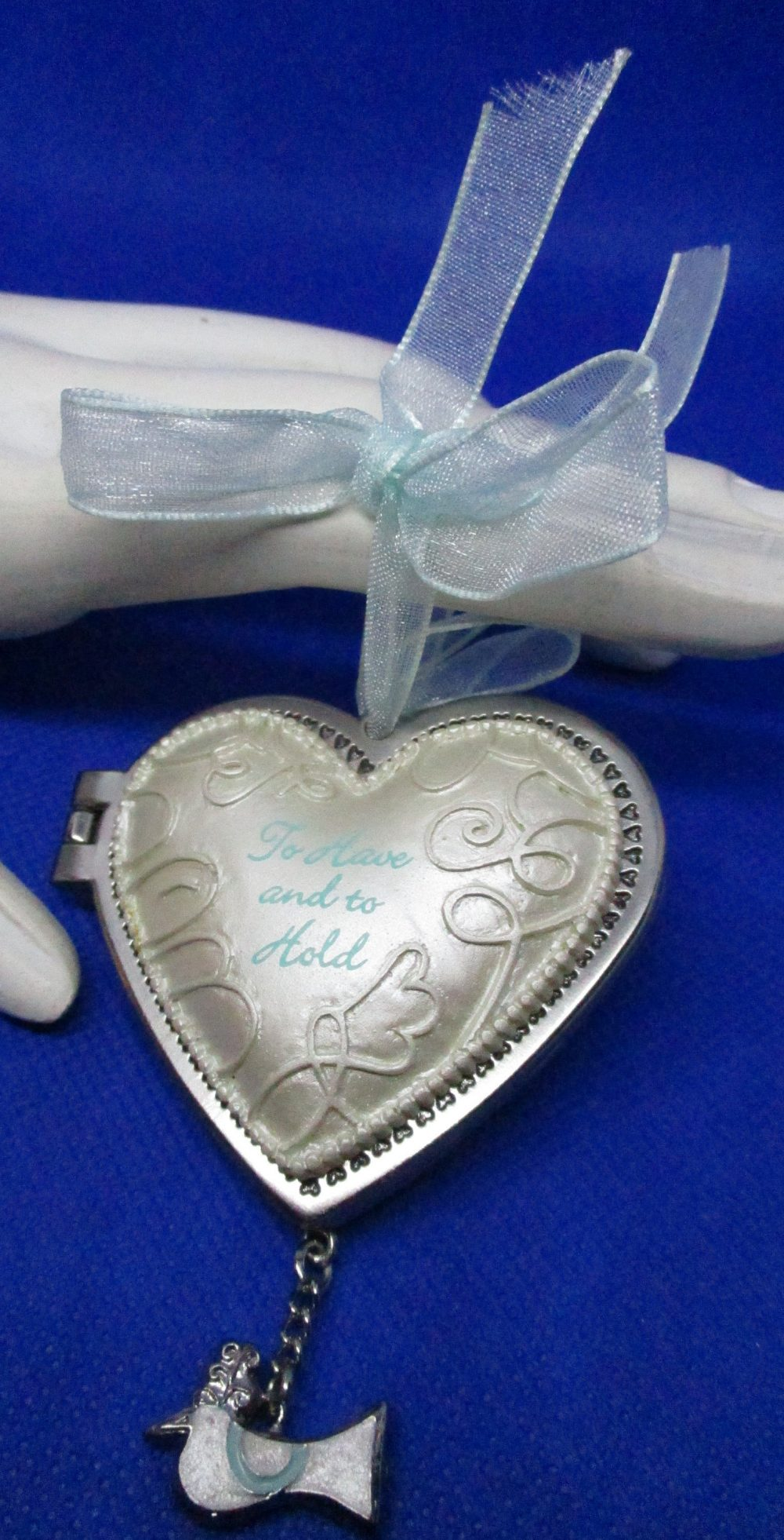 Puffed Double Heart Wedding Keepsake Frame Wedding Ornament Favor Hanging Frame White Silver Swirled