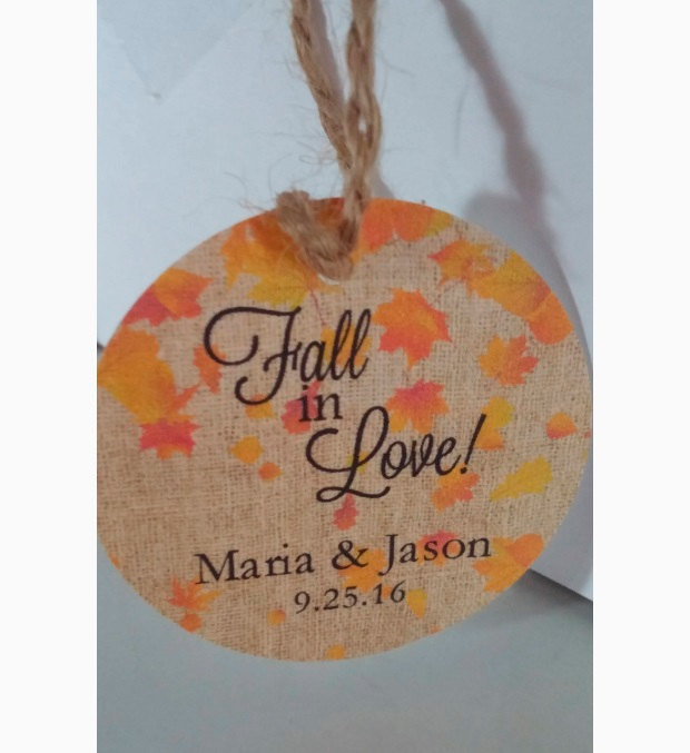 "2"" Personalized Burlap Style Falling Leaves Fall in Love Autumn Themed Wedding Favor Tags Round Rustic Country Theme Weddings"