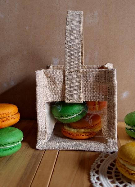 Mini Rustic Wedding Favor Burlap Tote Bag With Clear Window - 6 Bags Free Shipping