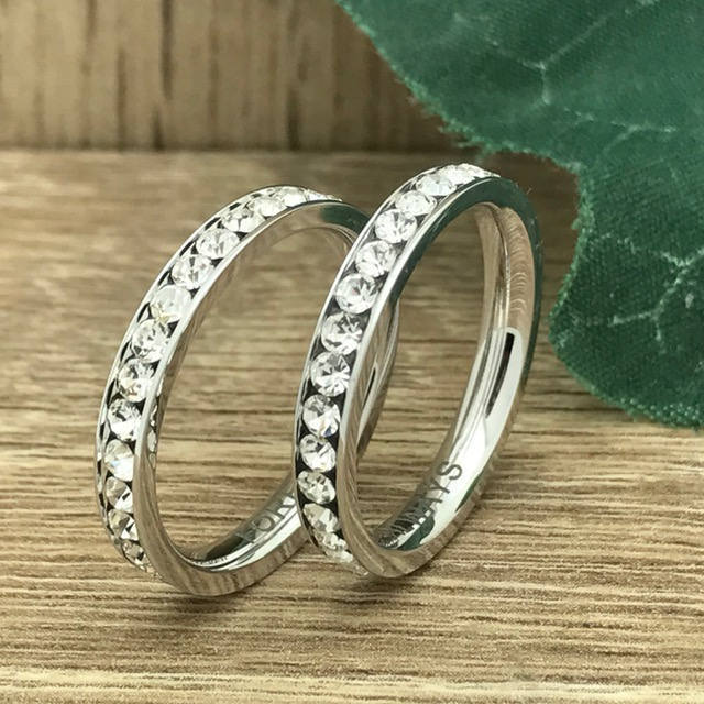 3mm His & Hers Wedding Ring, Personalized Custom Engrave Stainless Steel Eternity Cz Band Ring , Couples Sets