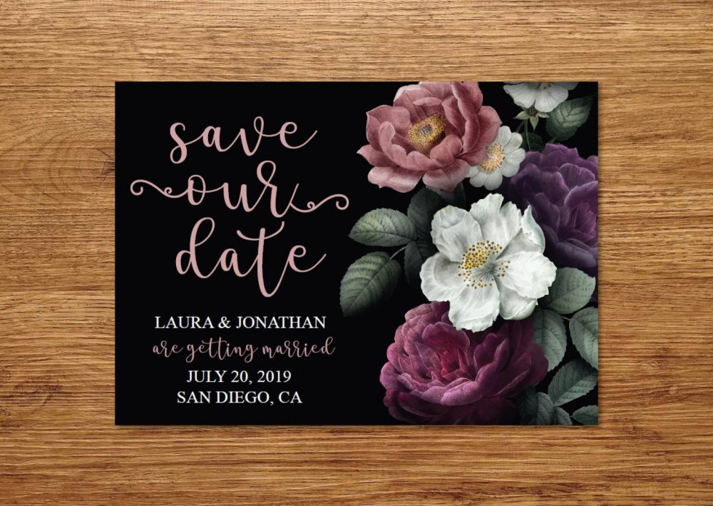 Black & Pink Flowers Save The Date Postcard Invitation/Modern Postcard/Floral Gold Card Announcement
