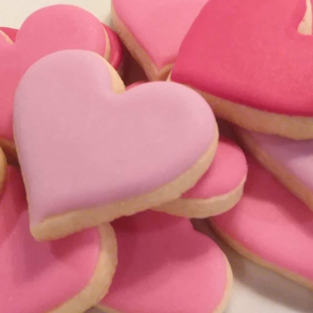 Mini Heart Cookies - Valentine's Day Cookies, 30 Wedding Cookie Favors, Royal Icing