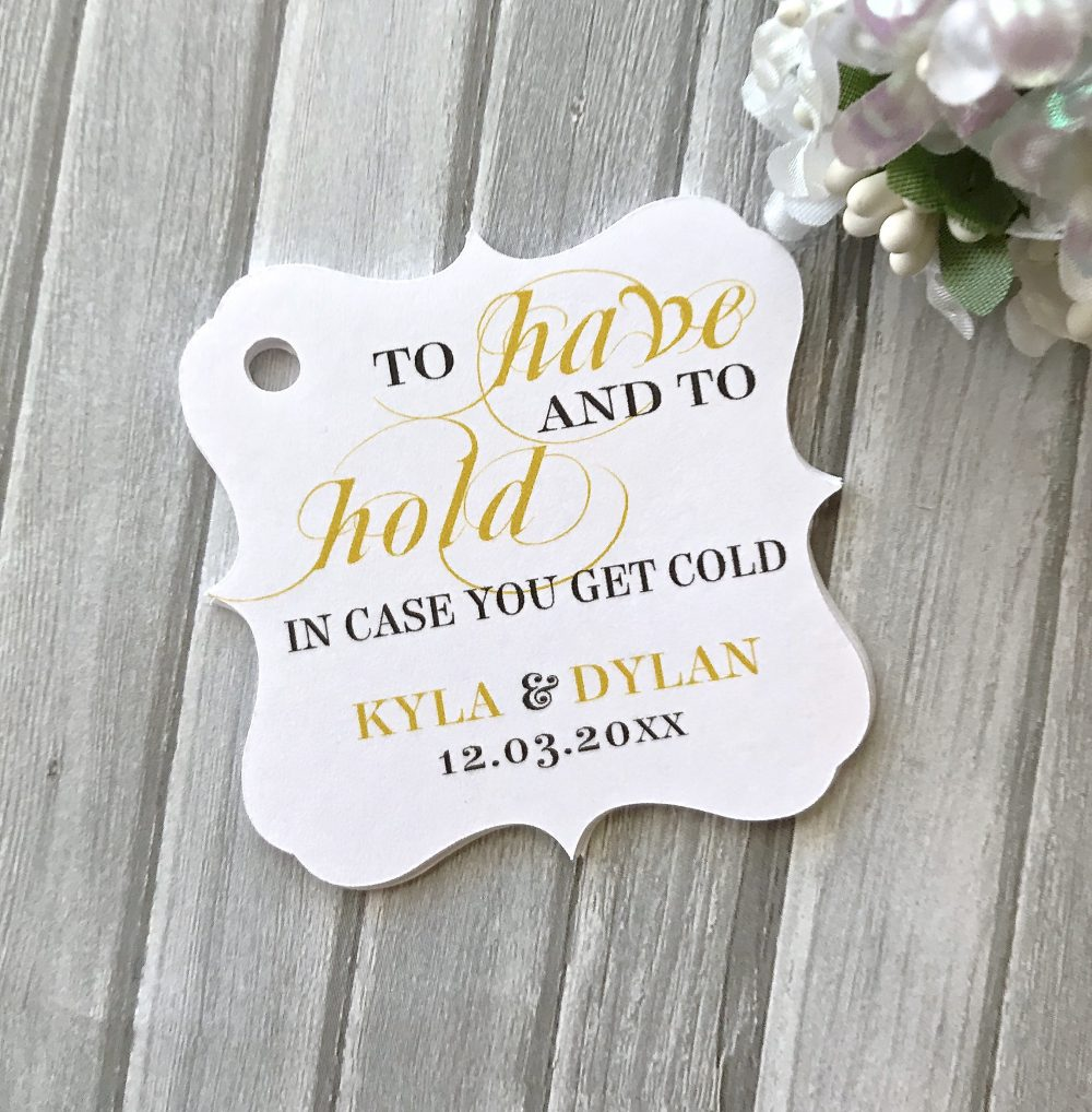 Pashmina Tags, Wedding Favor Winter To Have & Hold in Case You Get Cold, Tags - Set Of 12