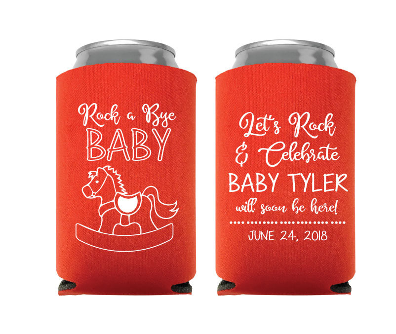 Baby Shower Can Coolers, Koozies, Custom Party Gifts, Rock A Bye Koozies Design | 75