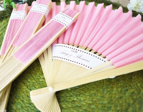 50 Non Personalized Pink Paper Fans, Wedding Hand Fans - Pieces