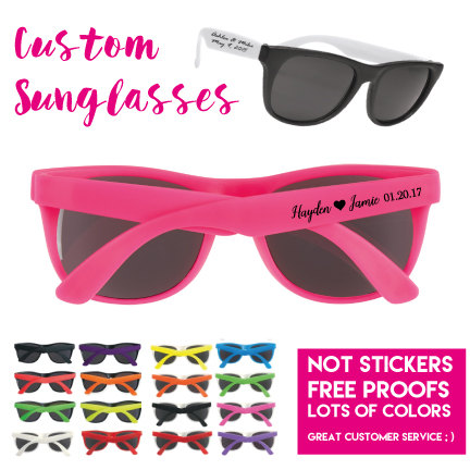 100 Personalized Wedding Favor Sunglasses, Custom Printed Party Includes Sunglasses W 1 Color On Side + Change Of