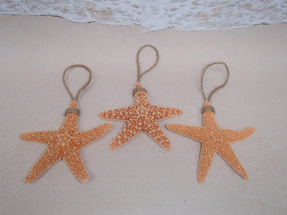 "Set Of 3 Sugar Starfish Ornaments - 3-4"" Each Beach Wedding Favors Rustic Coastal Nautical Christmas Ornament Favor Star Fish Sand"