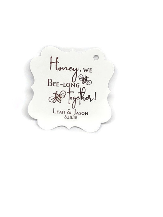 """2"""" Wedding Favor Tags, Honey Jar Gift Gold Foil Thank You Bee Theme Tags"""