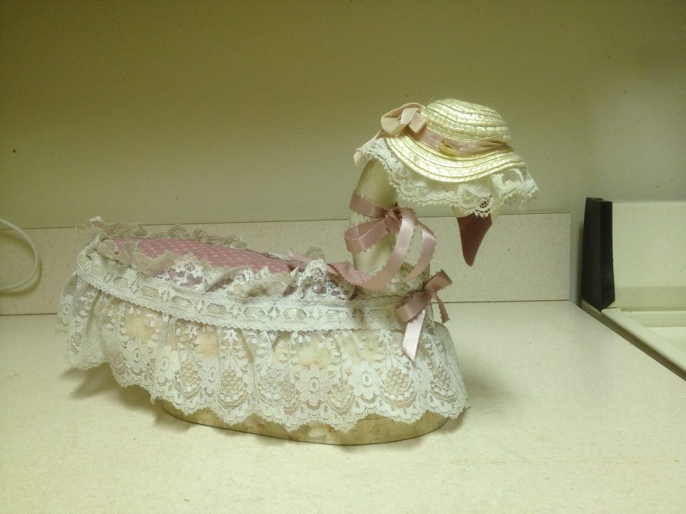 Wooden Swan Decor Unique Hand-Crafted Centerpiece, Decorative Display, Collectible Accent Lace Trimmed & Wearing A Straw Hat