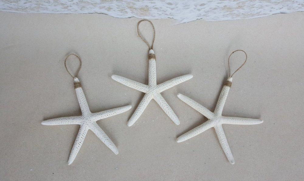 "Set Of 3 White Starfish Ornaments - 4-5"" Each Beach Wedding Favors Nautical Christmas Ornament Favor"