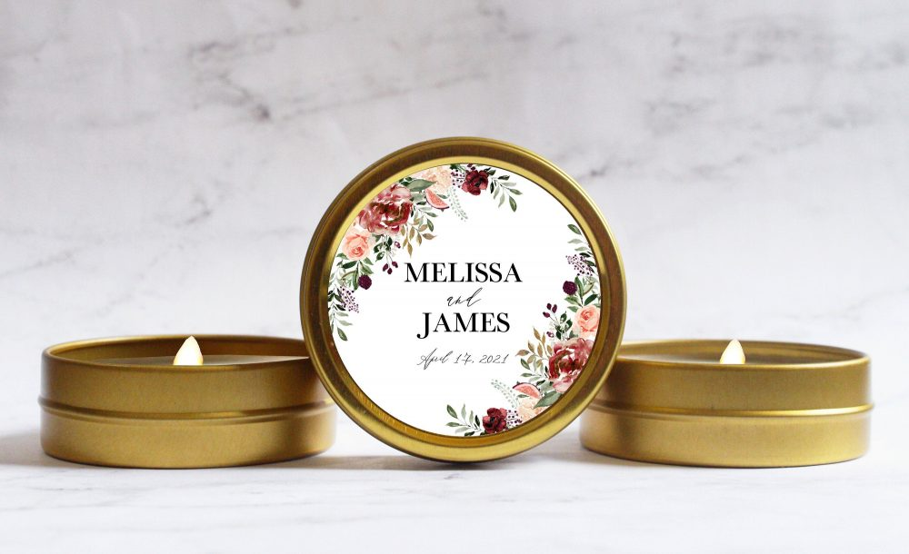 Burgundy Fall Wedding Favor Candles - Personalized Favors Autumn