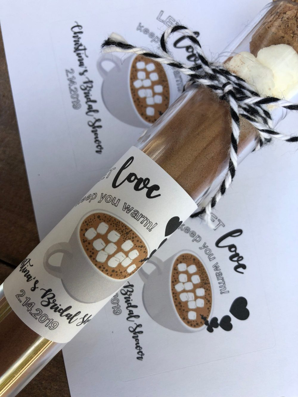 Hot Chocolate Favor Sticker, Let Love Keep You Warm, Wedding Favors, Winter Hot Cocoa Bridal Shower