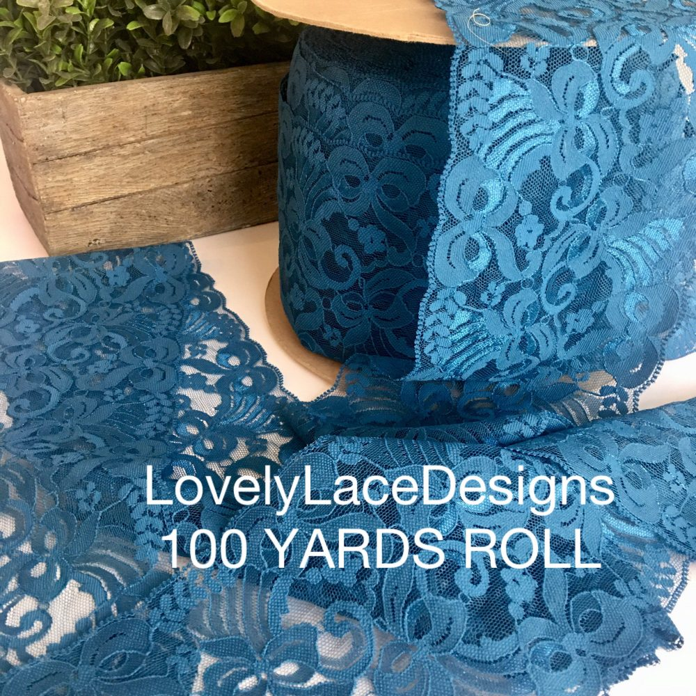 """100 Yards Roll/Jade/Blue Lace Trim/5"""" Wide/Crafts/Projects/ Trim/Table Runners/Wedding Decor/Table Decor/Diy/Wholesale"""