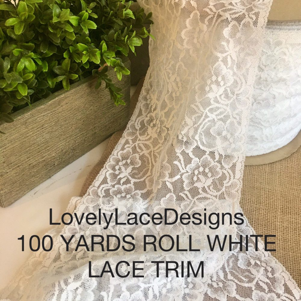 """100 Yards Roll/White Lace Trim/6.5"""" Wide/Crafts/Projects/ Trim/Table Runners/Wedding Decor/Table Decor/Diy/Wholesale"""