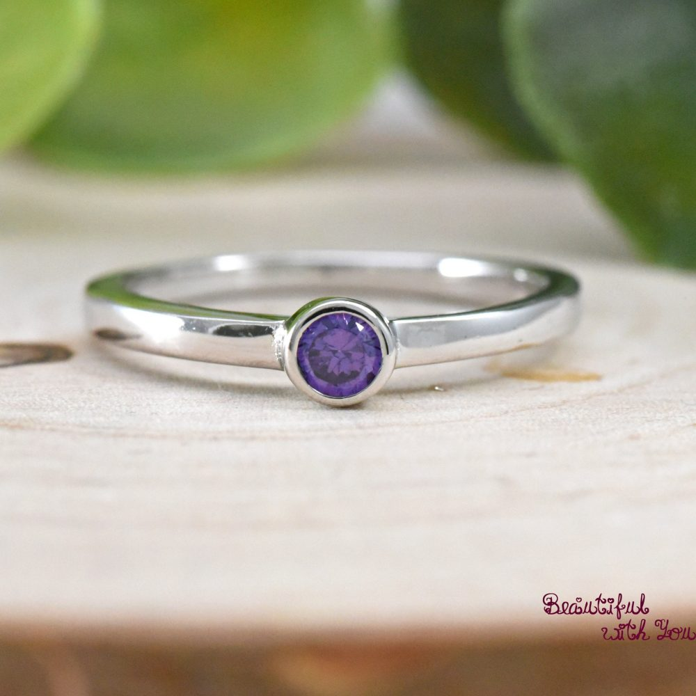 Girls Silver Ring, February Birthstone Childrens Daughter Ring For Girls, Daughter, Amethyst Cz