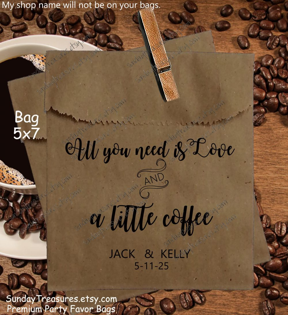 50 Pak Wedding Coffee Favor Bags/Brown Kraft 5x7 Bag Bridal Beans Custom Personalized 1-2 Dayship