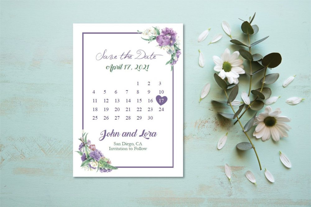Purple & Green Flowers Save The Date Postcard/Modern Floral Cards/Purple Announcement