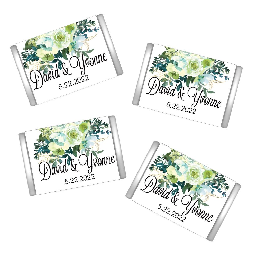 Chartreuse & Turquoise Personalized Hershey's Miniatures Chocolate Wrappers - Wedding Mini Miniature Hershey Wrapper