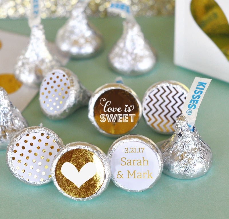 Chocolate Kisses - Hershey® Kiss Stickers Personalized Wedding Favors Candy Labels | Eb4003Fw 108 Printed Labels