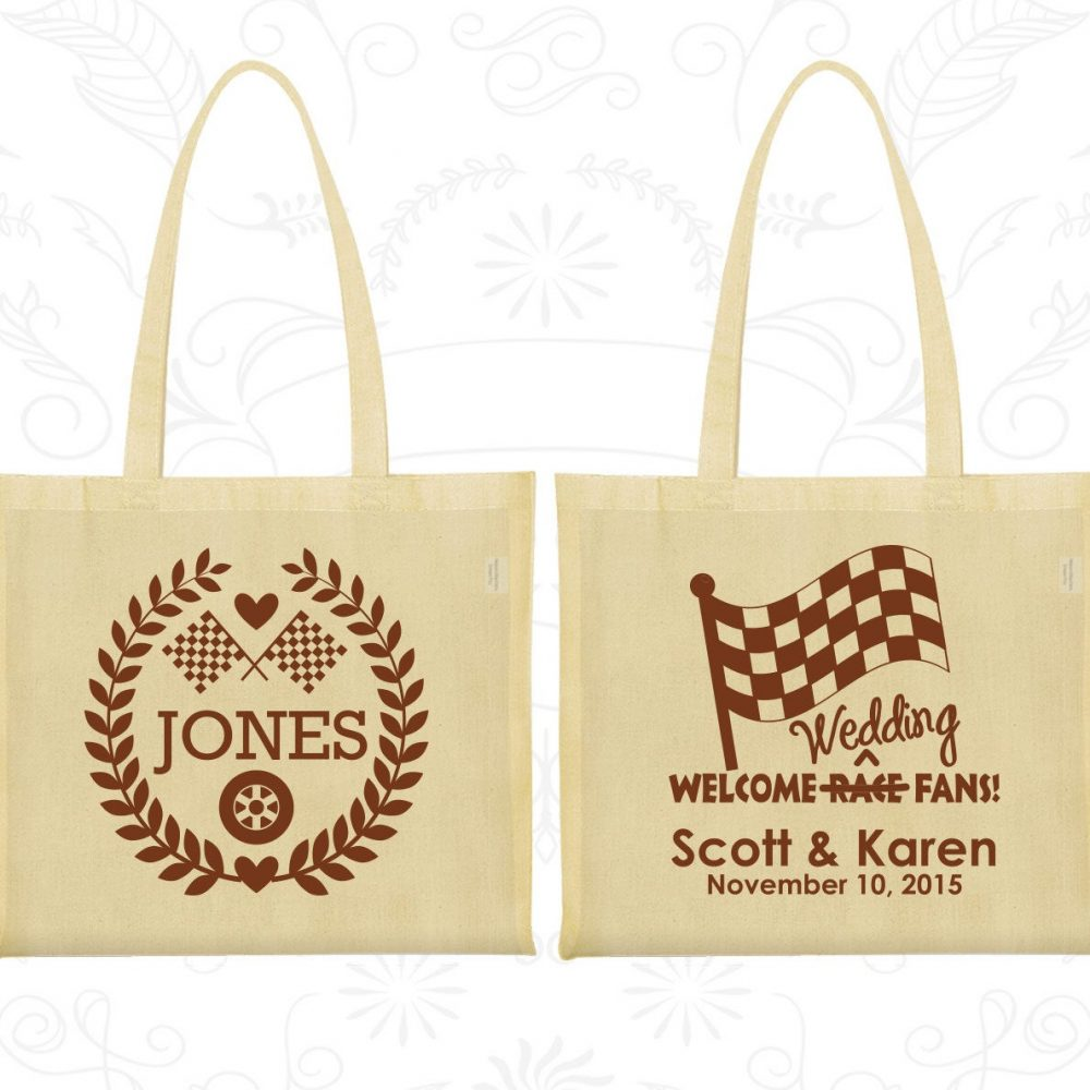 Welcome Wedding Race Fans, Favor Cotton Tote Bags, Racing Flags, Checkered Flag, Car Personalized | 589