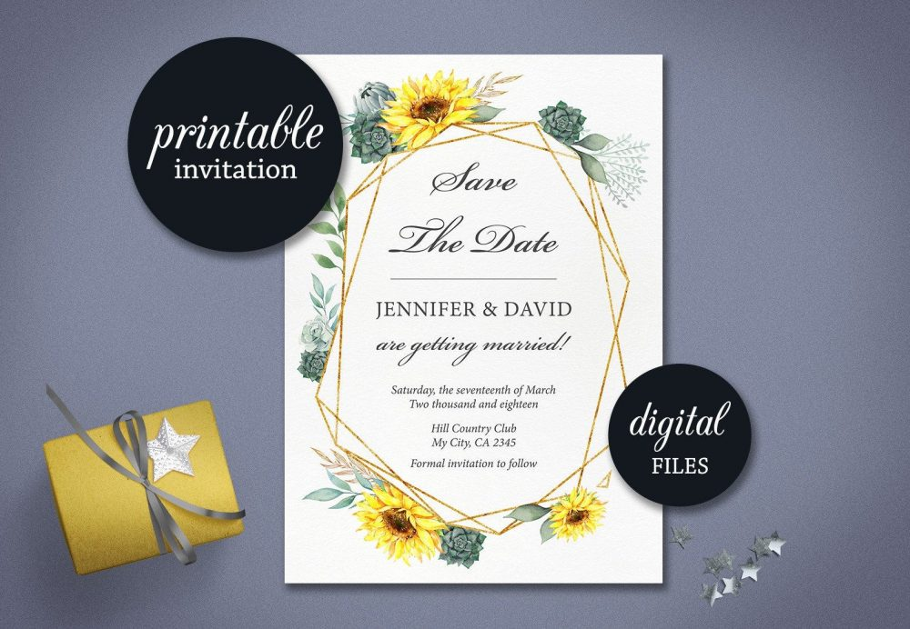 Sunflower Save The Date Card Succulent Fall Autumn Wedding Printable Geometric Floral Greenery Save Date