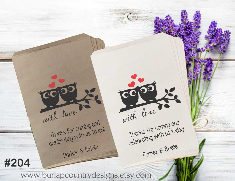 Owl Wedding Favor Bags, Popcorn Paper Candy Cookie Bag, Favour Bagscandy Bags