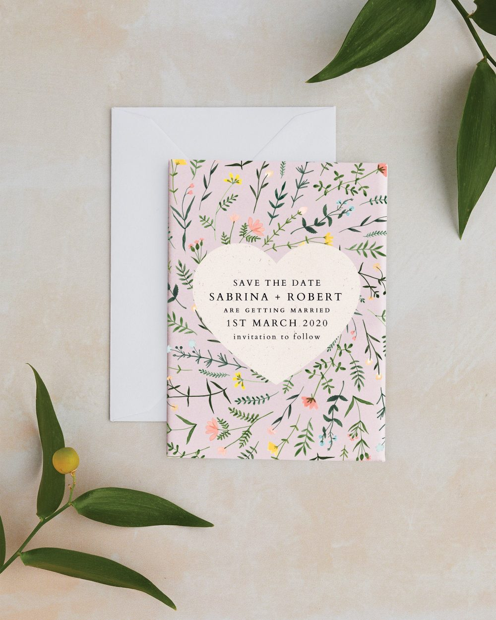 Save The Date - Wild Flower Blush Save Date, With Rustic Wild Flowers & Heart
