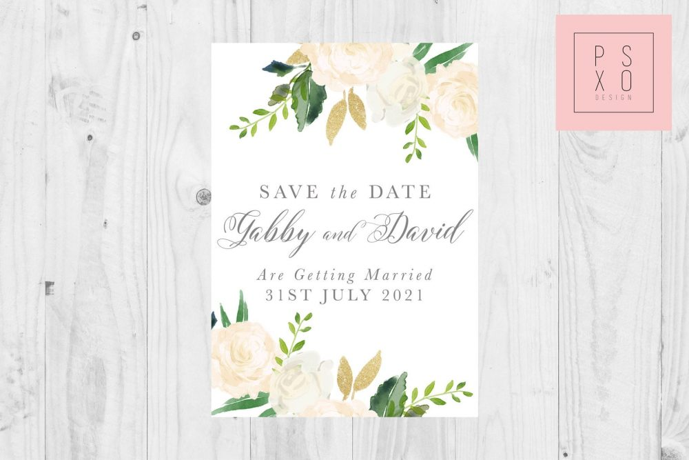 Save The Date Magnets/White Floral Flowers Rustic Wedding Vintage Design Simple Botanical