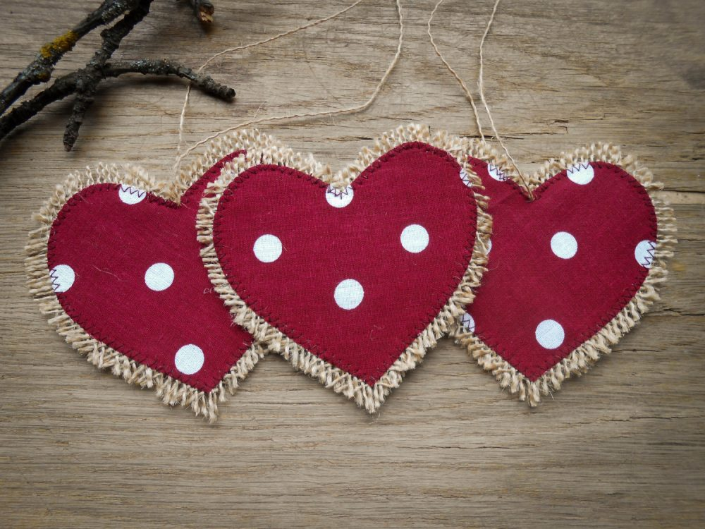 Burlap Heart Decor Valentines Day Linen Wedding Favor Bridal Shower Love Party Tag