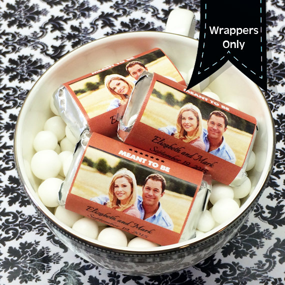 Personalized Full Color Photo Hershey's Miniatures Chocolate Wrappers - Wedding Decor Favors Candy