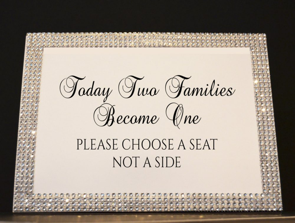 """8x10 Rhinestone Frame With """"Today Two Families Become One Please Choose A Seat Not Side"""" Sign. Wedding Seating Pick Color"""