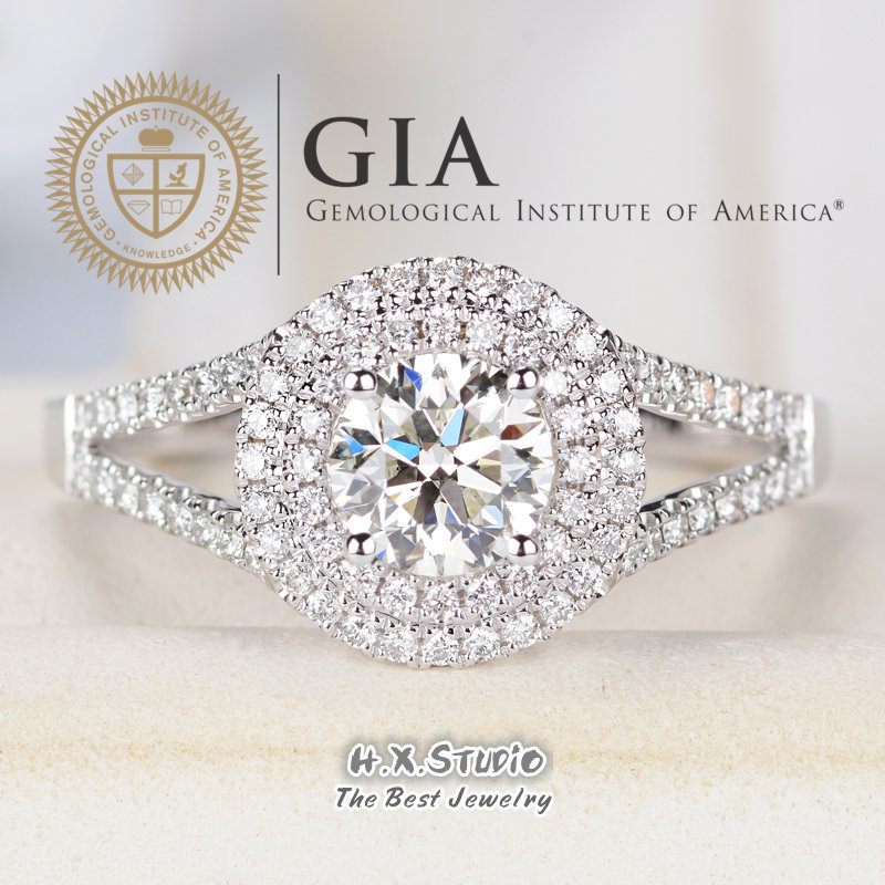 Gia Cert Round Diamond Engagement Ring, 0.3Ct-1.0Ct, Solitaire Double Halo Ring in Solid 18K Gold, Cross Band Wedding Love Gift