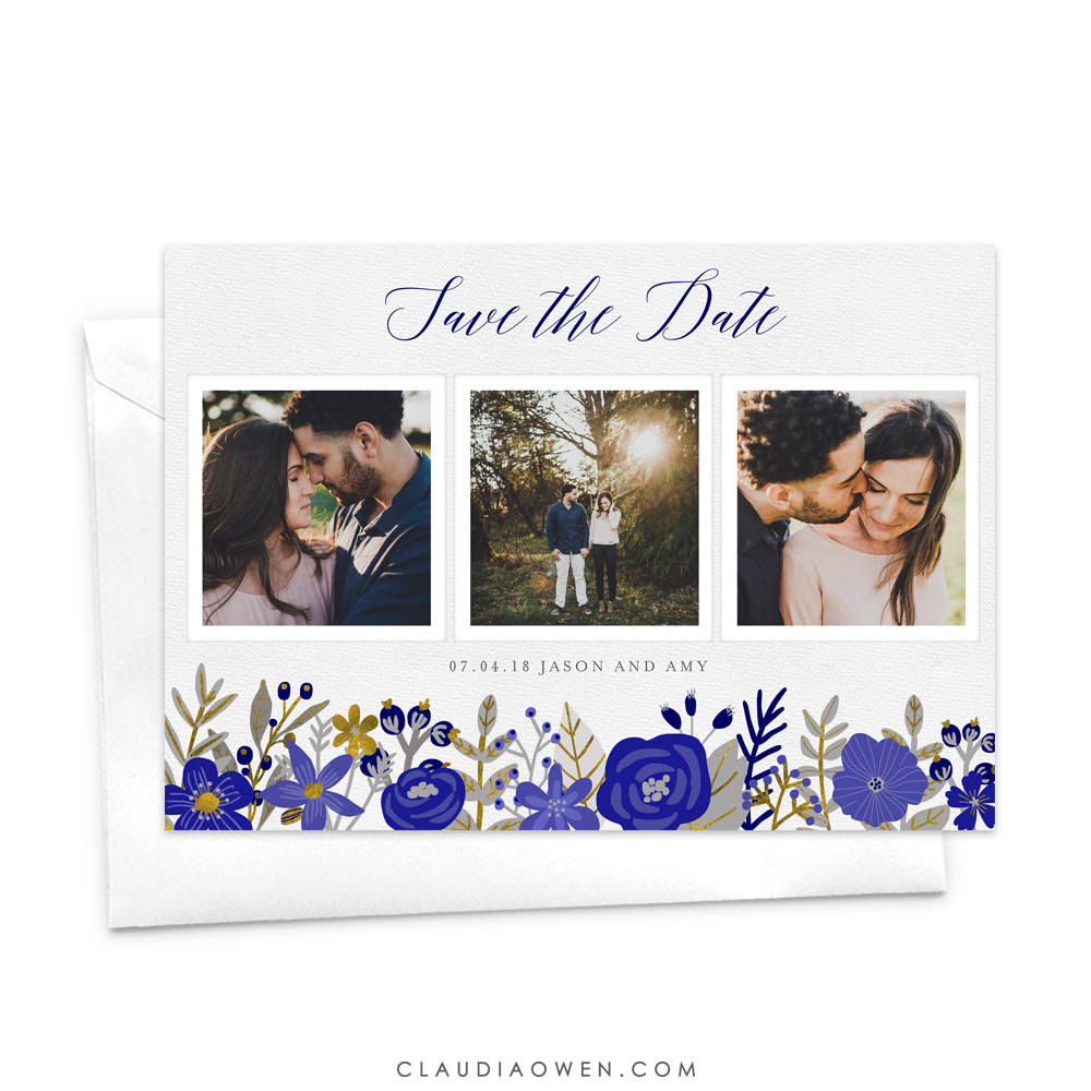 Floral Photo Save The Date Card Custom Rustic Boho Our Date, Getting Married Blue Flower Spring Wedding Invitation
