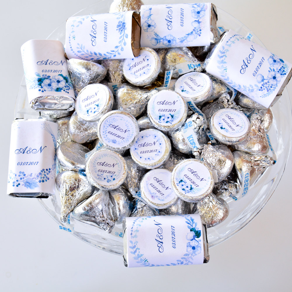 Custom Wedding Kiss Stickers, Label Hershey® Kisses, Party Labels, Favors, Watercolor Blue