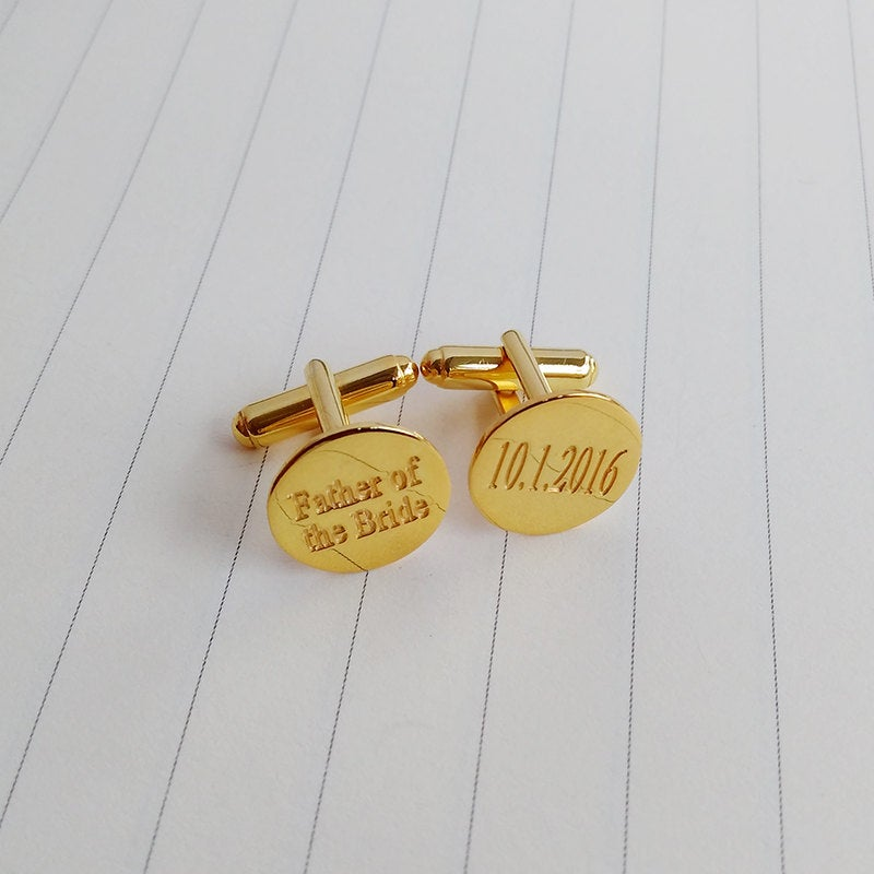Father Of The Bride Cufflinks, Wedding Date Cufflinks, Groom Cufflinks, Personalized Gift From Bride, Father's Day