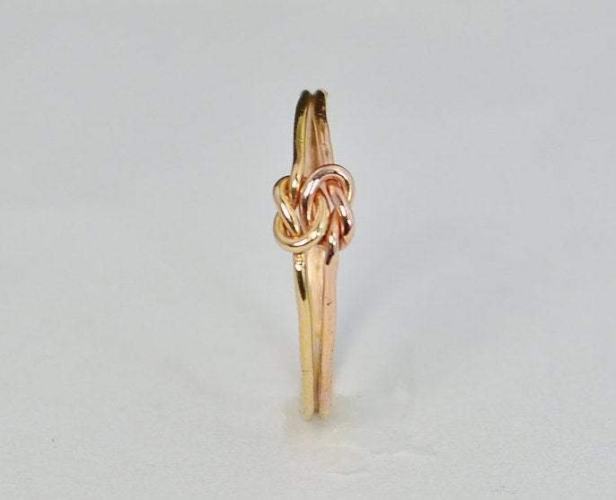Dainty Gold & Rose Double Knot Ring, Love Bff Bridal Promise Mother Daughter Ring