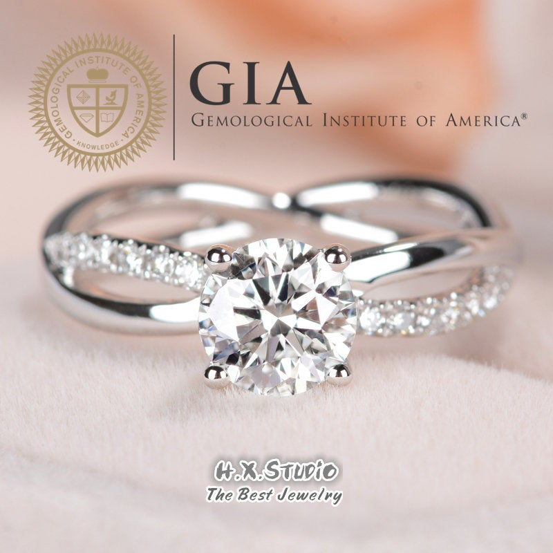 Gia Cert Round Diamond Engagement Ring, 0.3Ct-1.0Ct, Solitaire Ring in Solid 18K Gold, Cross Band Wedding Love Gift