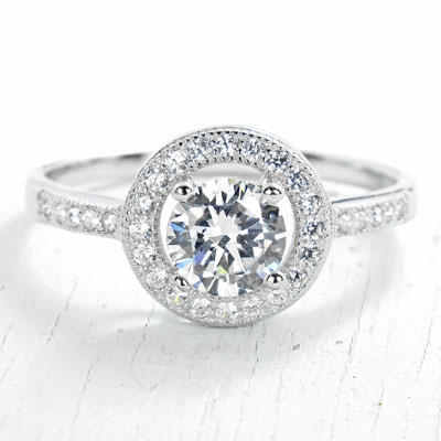 Halo Zirconia Engagement Ring in Sterling Silver