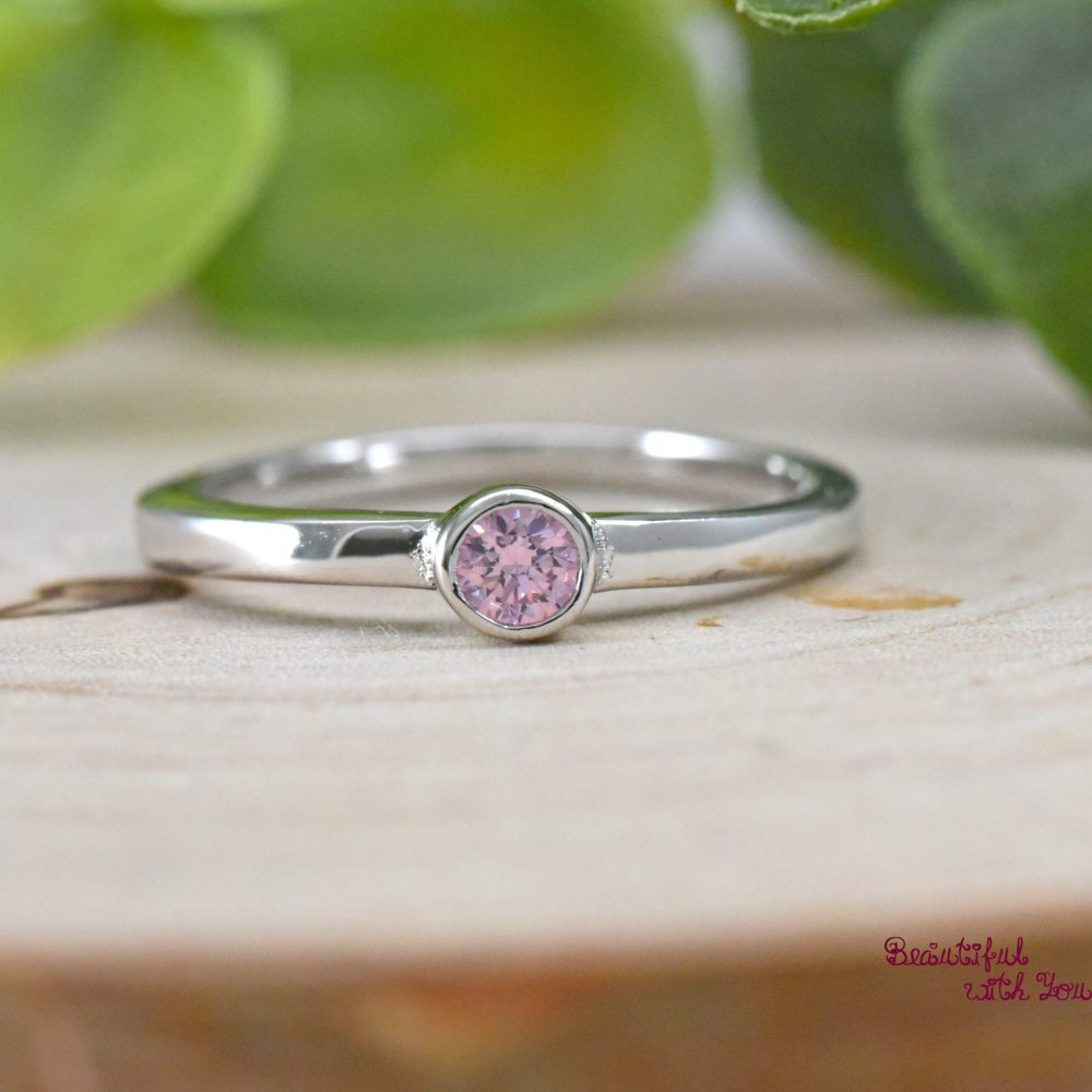 Girls Silver Ring, October Birthstone Childrens Daughter Ring For Girl, Daughter, Pink Cubic Zirconia