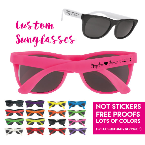 225 Personalized Wedding Favor Sunglasses, Custom Printed Party 1 Color Imprint On Side, Not Stickers, Bride Groom Sunglasses