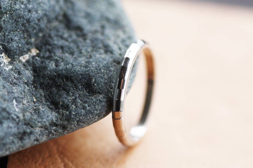 Man's Wedding Ring, Hammered Men's White Gold Band, Textured Unique Set, Woman's Band