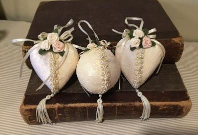 Kurt Adler Holiday Ornaments in Velvet, Lace Ribbons & Pearl Trimmed With Fabric Flowers, Set Of 3
