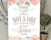 Choose a SEAT not a SIDE Wedding Seating SIGN Wedding Aisle Sign Blush Pink Peonies A3, A2 Printed or Digital Fast Delivery