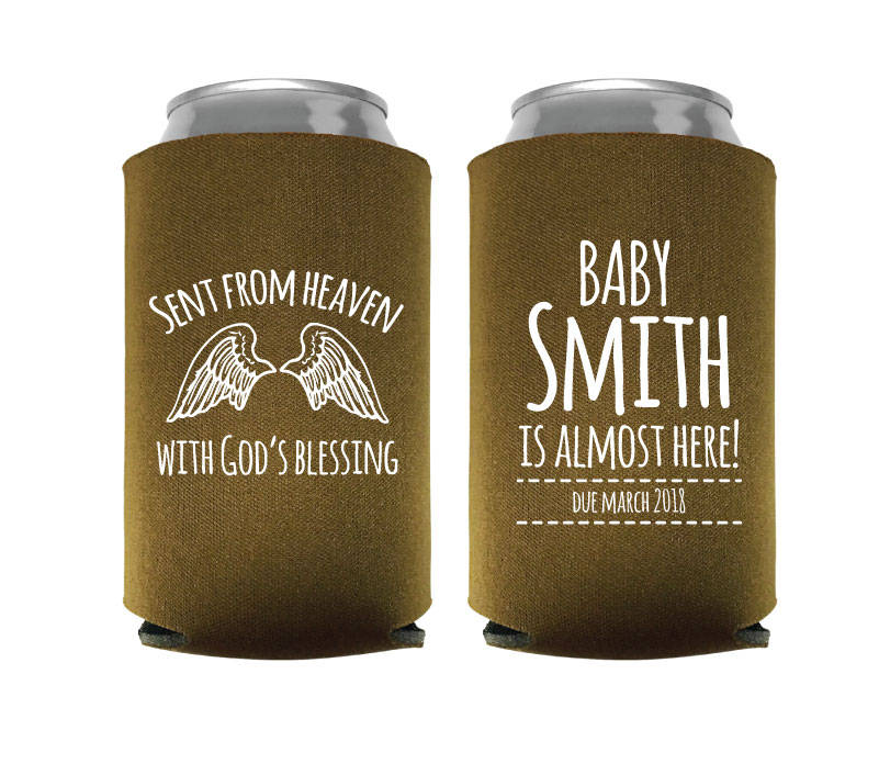 Baby Shower Can Coolers, Koozies, Custom Party Gifts, Sent From Heaven Koozies Design(76