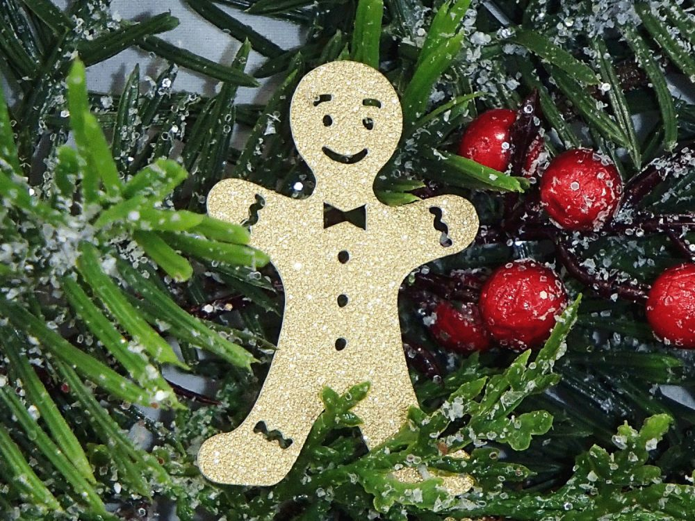 24 Gingerbread Man Cut Outs, Gold Glitter Large Chirstmas Confetti, Table Scatter, Confetti