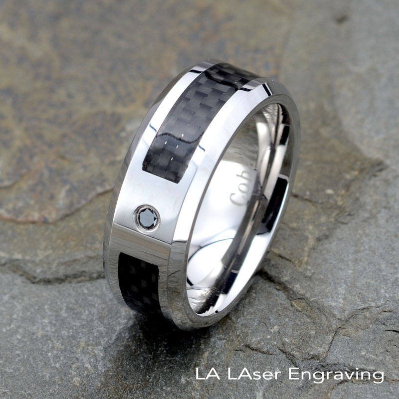 Mens Wedding Bands, Cobalt Ring With Black Diamond, 8mm Width, Carbon Fiber Inlay, Diamond Ring