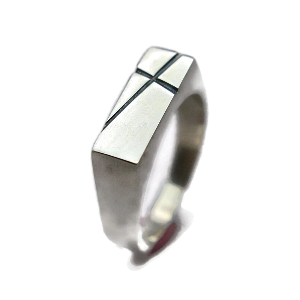 Mens Cross Silver Ring Custom Personalized Signet Polished For Men Gift Dad