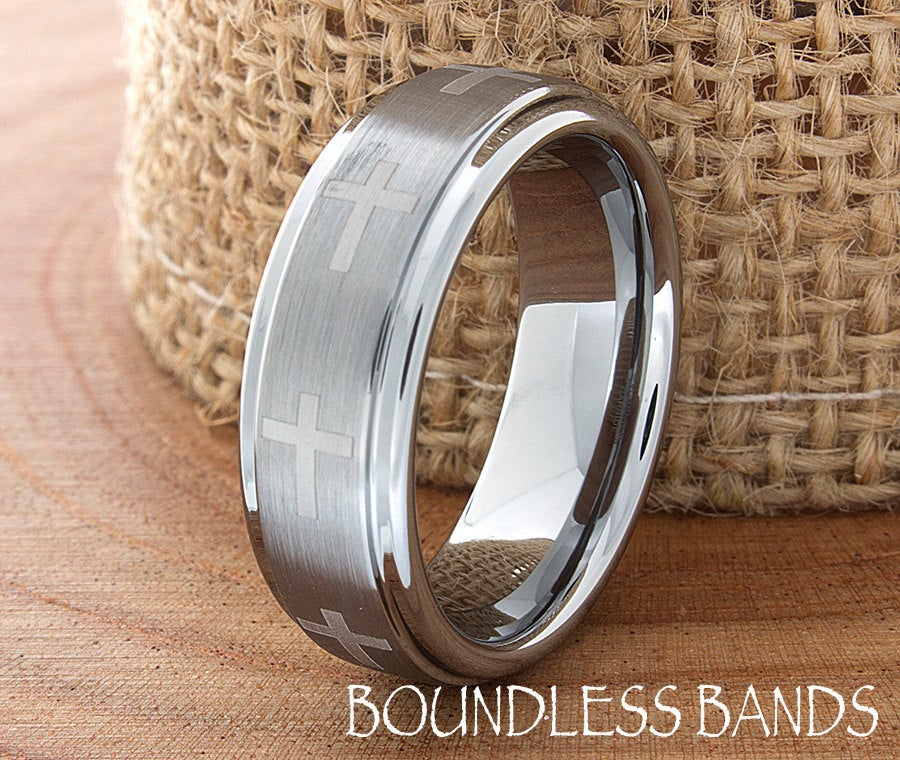 Tungsten Cross Ring, Men's Band, Wedding Tungsten, Silver Ring