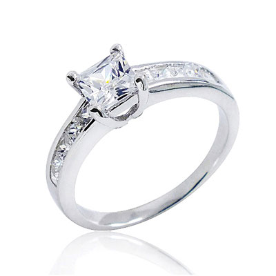 Princess-Cut Sterling Silver Cubic Zirconia Engagement Ring