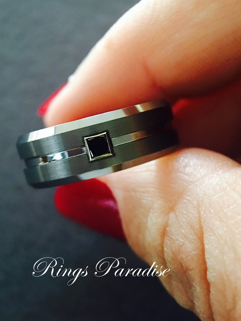 Mens Wedding Bands, Tungsten Ring With Black Square Diamond Stone Setting, Ring, Promise Band